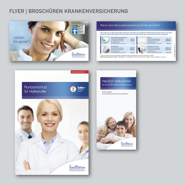 Broschüren INTER Krankenversicherung, Flyer Heilberufe