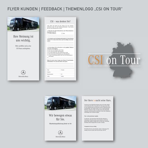 Kundenflyer, Themenlogo CSI on Tour