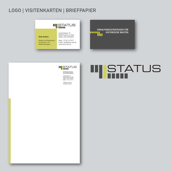 STATUS Geschäftsausstattung, Logo, Visitenkarten, Briefpapier